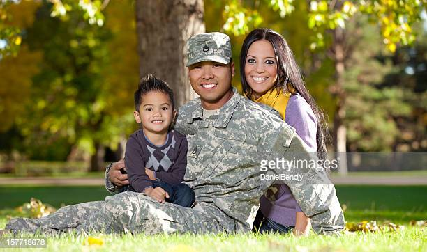 U S Army Soldier with Wife and Son Outdoor