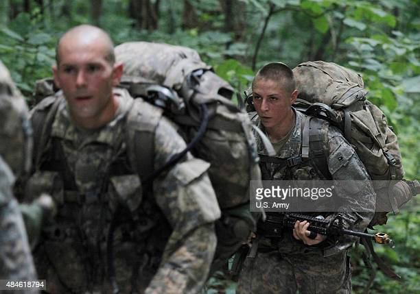 S Army Soldiers 1st Lt Shaye Haver takes part in mountaineering training during the at the US Army Ranger School on Mount Yonah July 14 2015 in...
