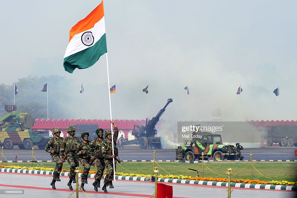 Army soldiers conduct a drill on the occasion of the Army Day in New Delhi on Tuesday.
