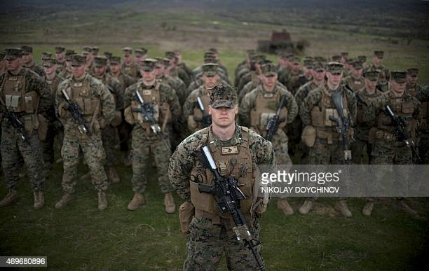 US army soldiers from the US Marine Corps stand in formation during a joint military training 'Platinum Lion 152' with Bulgaria's army at Novo Selo...