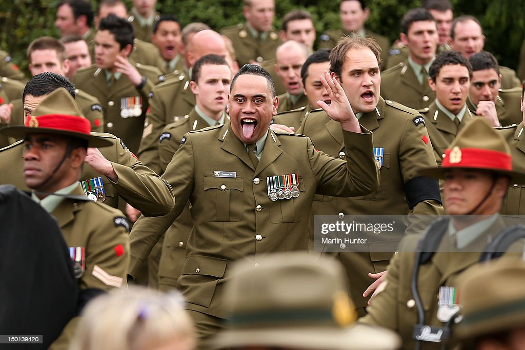 NZ Army soldiers perform a haka at the Military Commemorative Service for LCPL Durrer and LCPL Malone at Burnam Military Camp on August 11, 2012 in Christchurch, New Zealand. The bodies of the two New Zealand soldiers killed in Afghanistan arrived in Christchurch last night. Private funeral services will then be held by their families.