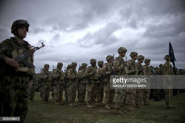TOPSHOT US army soldiers stand in formation during a joint military tactical training exercise Blowback 2016 with Bulgaria's army at Novo Selo...