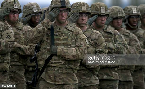 US army soldiers stand in formation during a joint military tactical training exercise Blowback 2016 with Bulgaria's army at Novo Selo military...