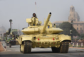 Army tanks during rehearsal for the Republic Day Parade at Rajpath on January 17 2016 in New Delhi India Annual Parade is held at Rajpath on January...