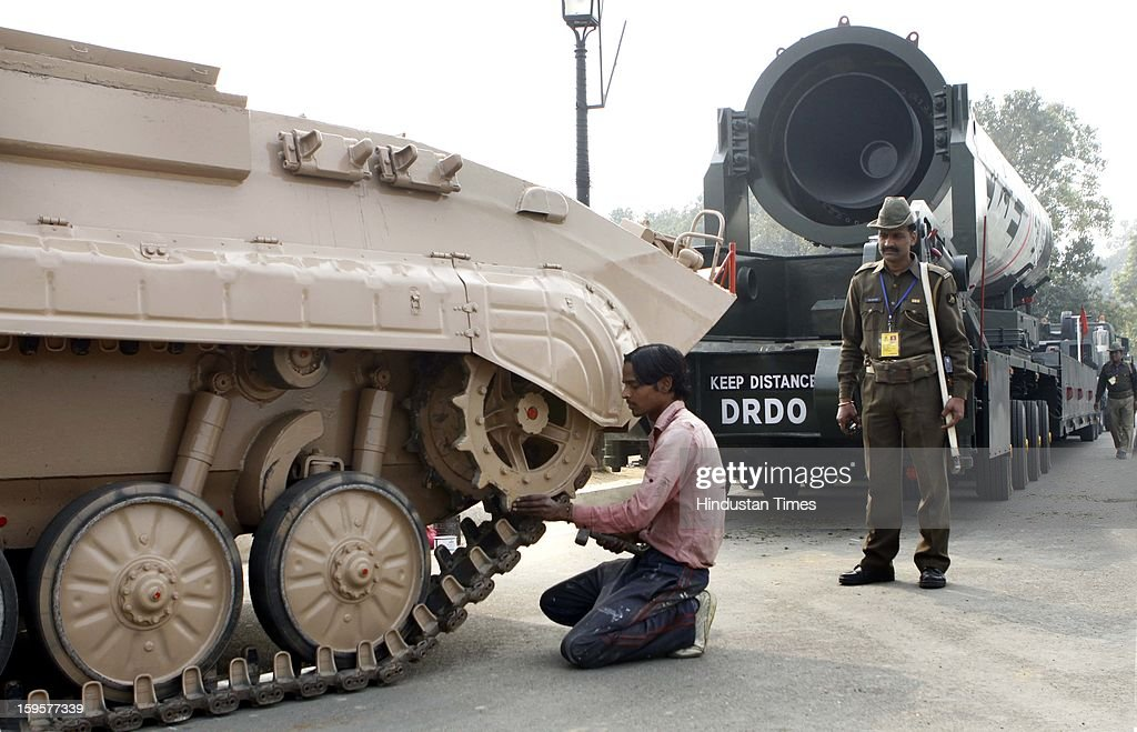 Army tanks getting prepared for the Republic Day rehearsals at the India Gate lawns on January 16, 2013 in New Delhi, India.