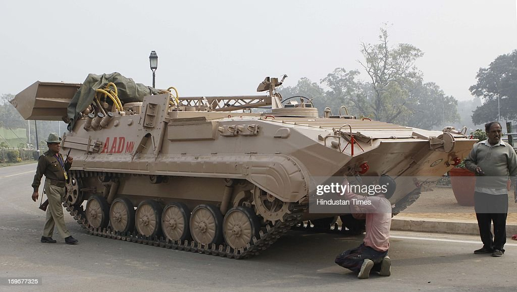 Army tanks getting ready for the Republic Day rehearsals at the India Gate lawns on January 16, 2013 in New Delhi, India.