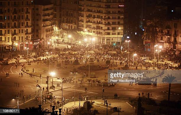 Army tanks line up in Tahrir Square on January 29 2011 in Cairo EgyptThousands of police are on the streets of the capital Hundreds of arrests have...