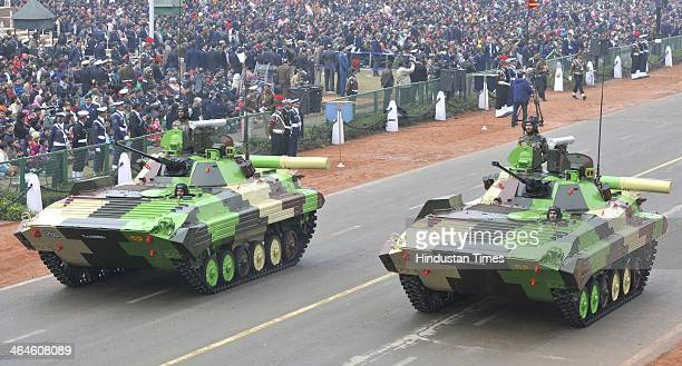 Army tanks passing through the saluting base during the full dress rehearsal for Republic Day Parade at Rajpath on January 23 2014 in New Delhi India...