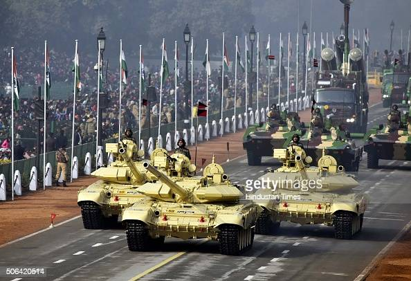 Army Tanks roll out at Rajpath during a full dress rehearsal of the Republic Day Parade on January 23 2016 in New Delhi India Annual parade is held...