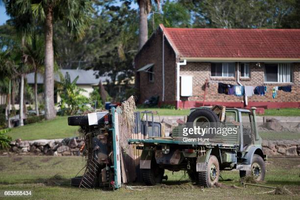 Army trucks damaged by flood water on April 3 2017 in Beenleigh Australia Heavy rain caused flash flooding across south east Queensland and Northern...