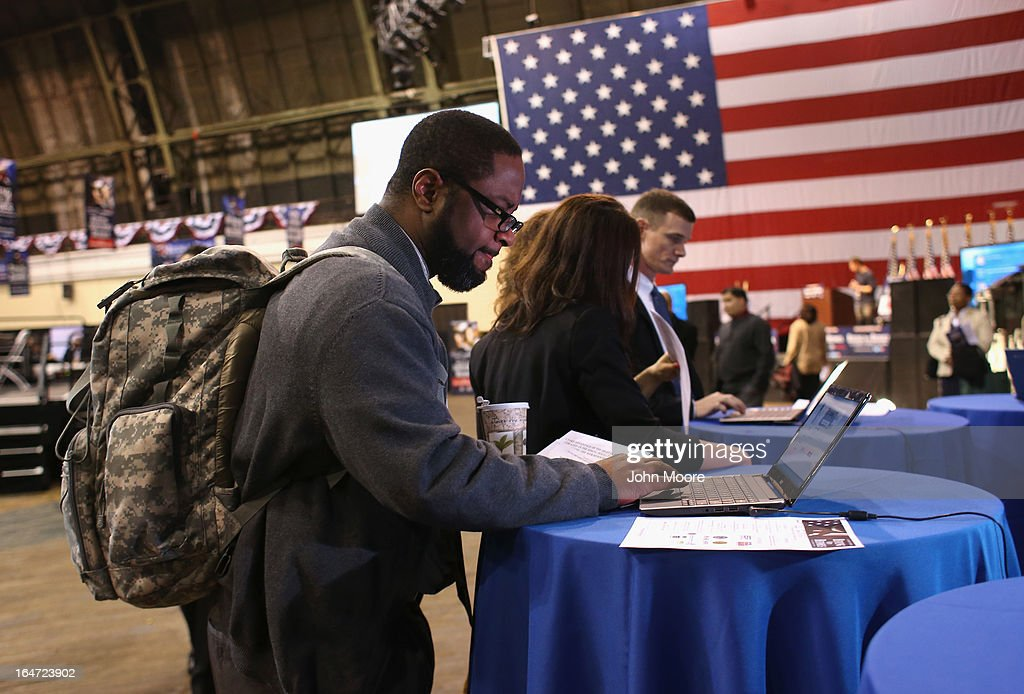 U.S. Army veteran Adrian Anderson, who served in both Iraq and Afghanistan, attends the Hiring Our Heroes military job fair held on March 27, 2013 in New York City. Hundreds of veterans and their spouses turned out to meet more than 100 employers participating at the second annual event, hosted by the U.S. Chamber of Commerce National Chamber Foundation. Lead sponsors were Capital One Financial Corporation and Toyota.
