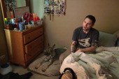 Army veteran Brad Schwarz sits in his bedroom with his service dog Panzer at his side April 27 2012 in Hanover Park Illinois Schwarz who suffers from...