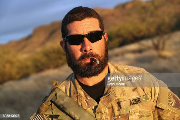 S Army veteran Randon stands in the Arizona Border Recon camp near the USMexico border on November 16 2016 in Pima County Arizona Randon who served...