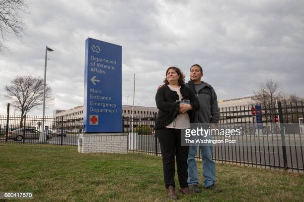 Army veteran Ricardo Pineda and his wife Veronica Castro stand outside a VA hospital just before Ricardos appointment in Washington DC on March 1...