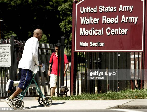 S Army Veteran Samba Ba leaves Walter Reed Army Medical Center after a doctors appointment for a hurt foot August 25 2005 in Washington DC Earlier...