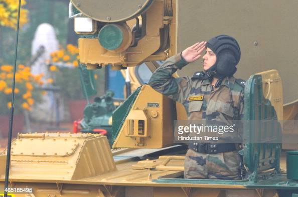 Army woman officer Bharti Sansanwal leading the tanks during the 65th Republic Day parade at Rajpath on January 26 2014 in New Delhi India India...