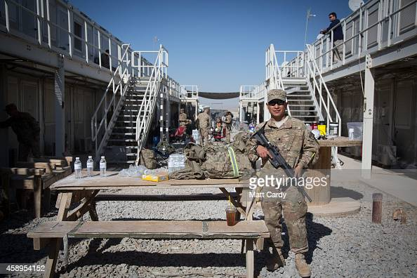Army's Wilson Cueva poses for a photograph in front of his accommodation block as he prepares to leave at the end of his tour at Kandahar airfield on...