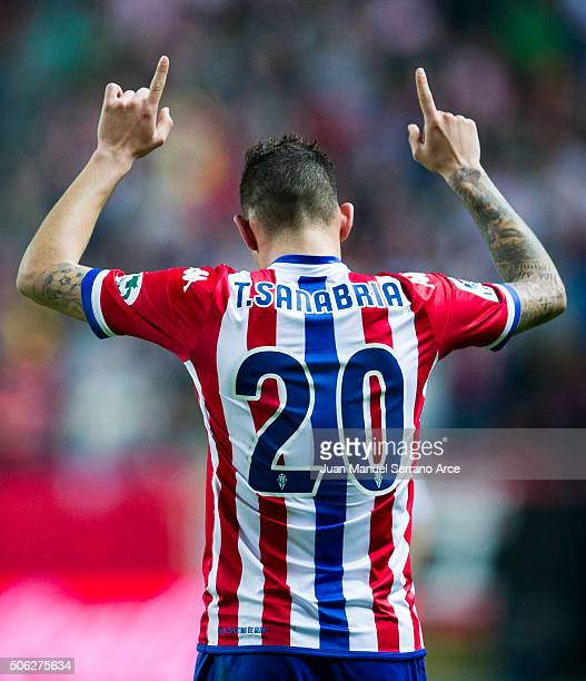 Arnaldo Sanabria of Real Sporting de Gijon celebrates after scoring his team's fourth goal during the La Liga match between Real Sporting de Gijon...