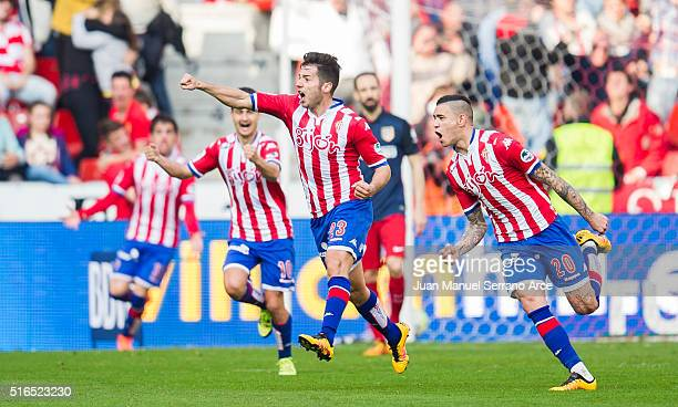 Arnaldo Sanabria of Real Sporting de Gijon celebrates after scoring goal during the La Liga match between Real Sporting de Gijon and Club Atletico de...