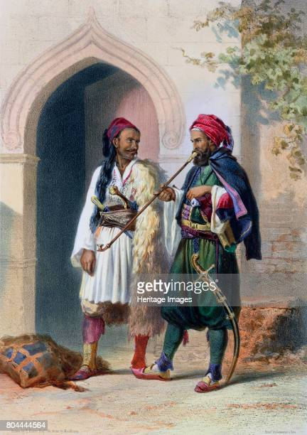 Arnaout and Osmanli soldiers in Alexandria Egypt 1848 Illustration from The Valley of the Nile by Emile Prisse d'Avennes 1848 Artist Mouilleron