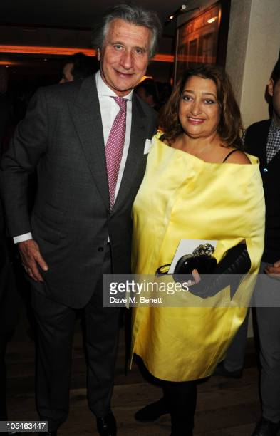 Arnaud Bamberger and Zaha Hadid attend the Cartier Frieze Dinner at the Bar Boulud, Mandarin Oriental Hyde Park on October 14, 2010 in London, England.