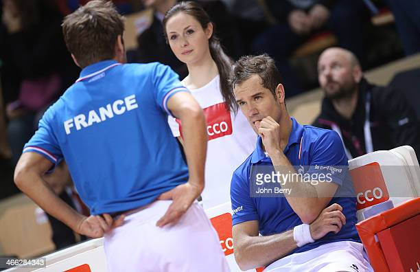 Arnaud Clement captain of France and Richard Gasquet during the 1st round Davis Cup tie between France and Australia at the Vendespace stadium on...