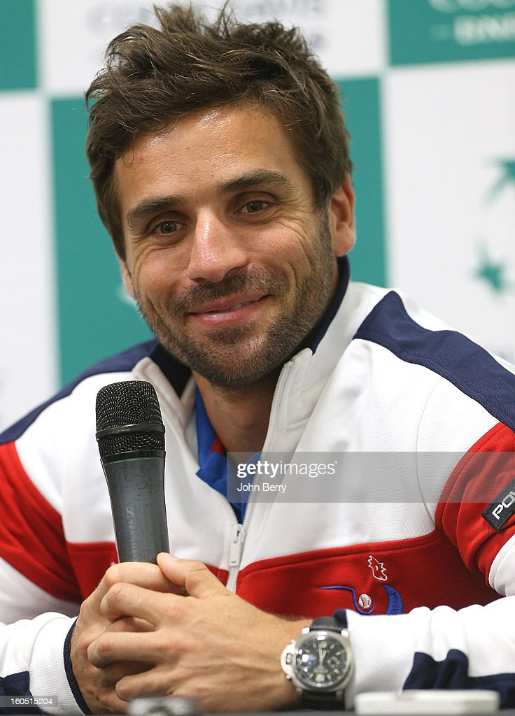 <a gi-track='captionPersonalityLinkClicked' href=/galleries/search?phrase=Arnaud+Clement&family=editorial&specificpeople=203192 ng-click='$event.stopPropagation()'>Arnaud Clement</a>, coach of France speaks to the media on day one of the Davis Cup first round match between France and Israel at the Kindarena stadium on February 1, 2013 in Rouen, France.