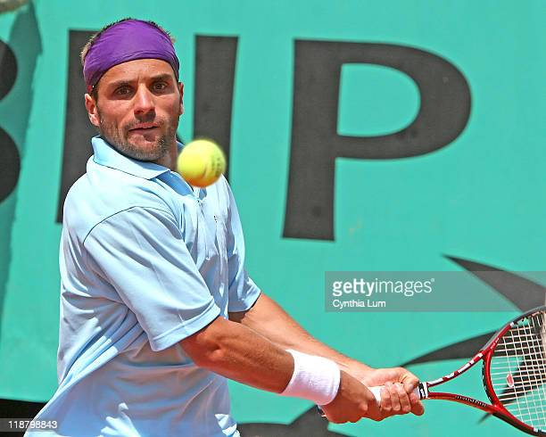 Arnaud Clement of France in action during his 3 set loss to Ivan Ljubicic of Croatia in the first round of the French Open at Roland Garros Paris...