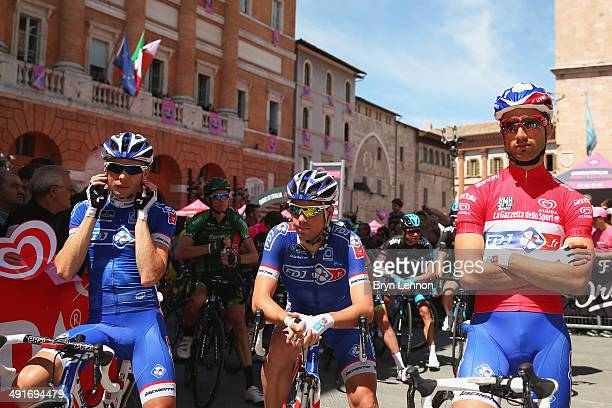 Arnaud Courteille of France Johan Le Bon of France and maglia Rossa wearer and leader of the points classification Nacer Bouhanni of France and FDJfr...
