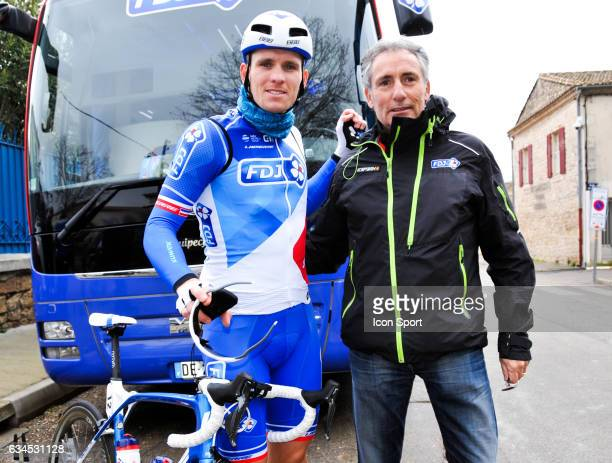 Arnaud Demare of Fdj and his healer during the stage 1 of the Etoile of Besseges on February 1 2017 in Beaucaire France