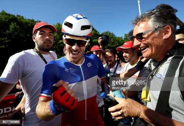 Arnaud Demare of France and and team FDJ celebrates after winning stage four of Le Tour de France 2017 on July 4 2017 in Vittel France