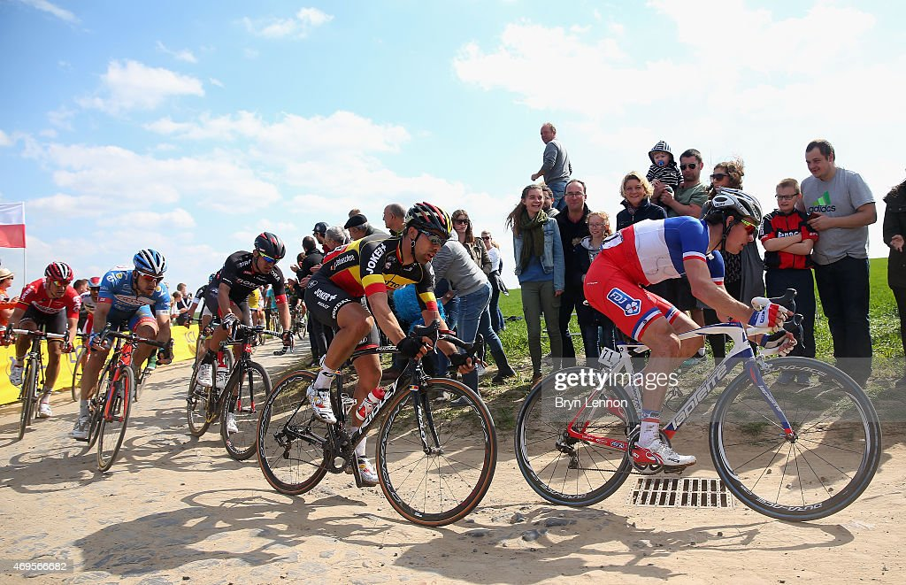 Arnaud Demare of France and FDJ in action during the 2015 Paris - Roubaix cycle race from Compiegne to Roubaix on April 12, 2015 in Roubaix, France.