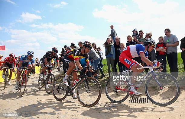 Arnaud Demare of France and FDJ in action during the 2015 Paris Roubaix cycle race from Compiegne to Roubaix on April 12 2015 in Roubaix France