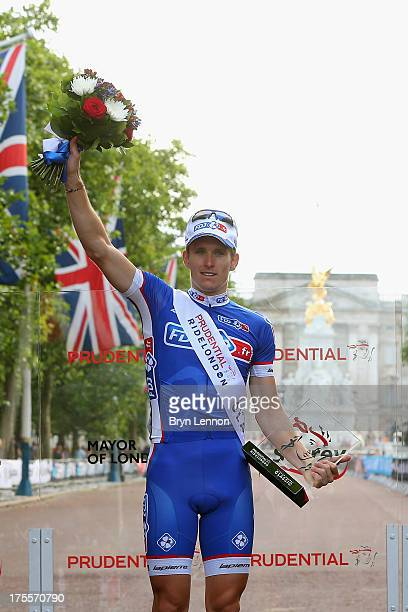 Arnaud Demare of France and FDJ stands on the podium after winning the London Surrey Classic from the Queen Elizabeth Olympic Park to The Mall on...