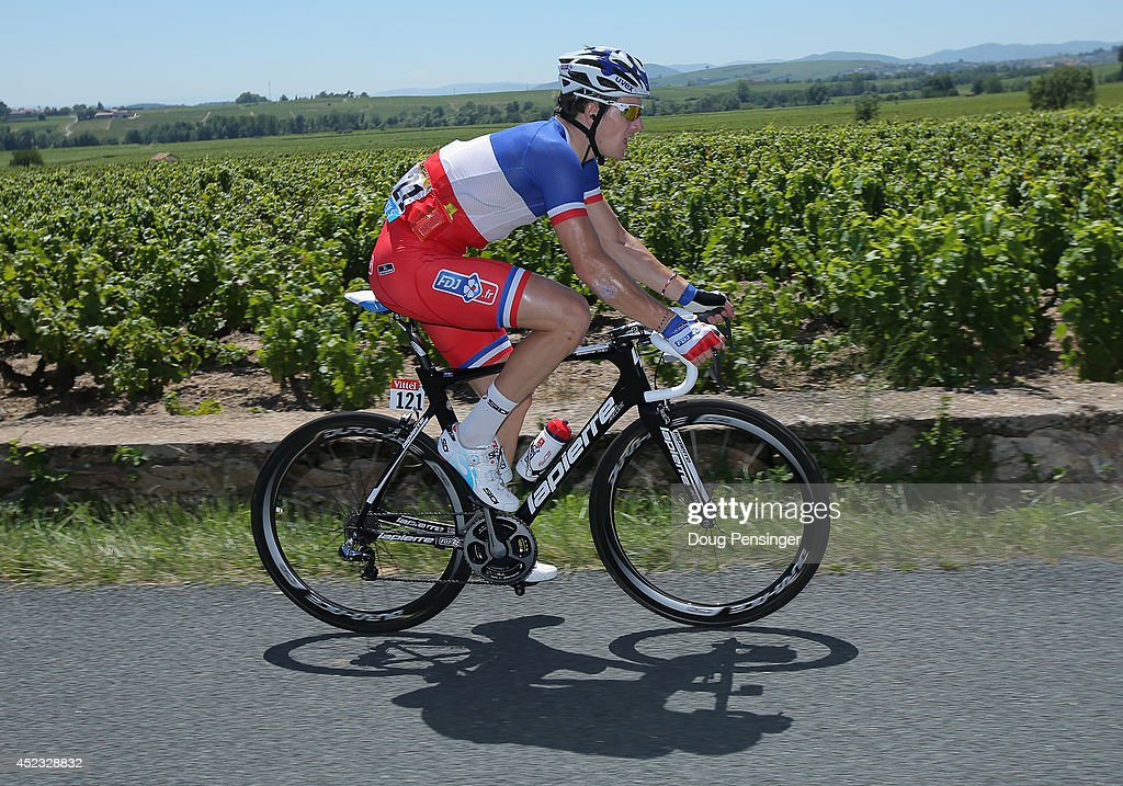 Arnaud Demare of France and FDJ.fr rides in the peloton during the twelfth stage of the 2014 Tour de France, a 186km stage between Bourg-en-Bresse and Saint-Etienne, on July 17, 2014 in Fleurie, France.