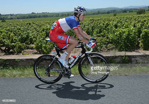 Arnaud Demare of France and FDJfr rides in the peloton during the twelfth stage of the 2014 Tour de France a 186km stage between BourgenBresse and...