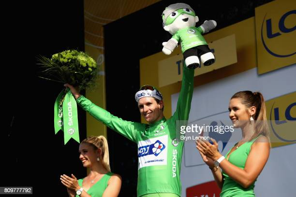 Arnaud Demare of France and Team FDJ celebrates retaining the green jersey during stage six of the 2017 Le Tour de France a 216km road stage from...