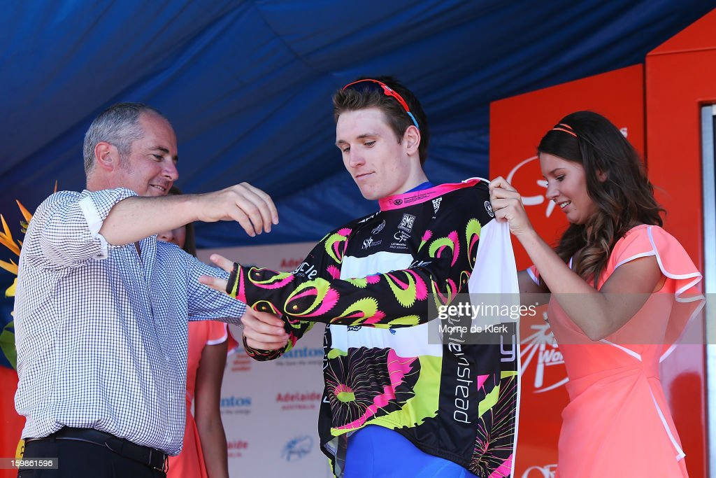 Arnaud Demare (C) of France and the FDJ team receives the Young Rider jersey during stage 1 of the Tour Down Under bicycle race between Prospect and Lobethal in the Adelaide Hills on January 22, 2013 in Adelaide, Australia.