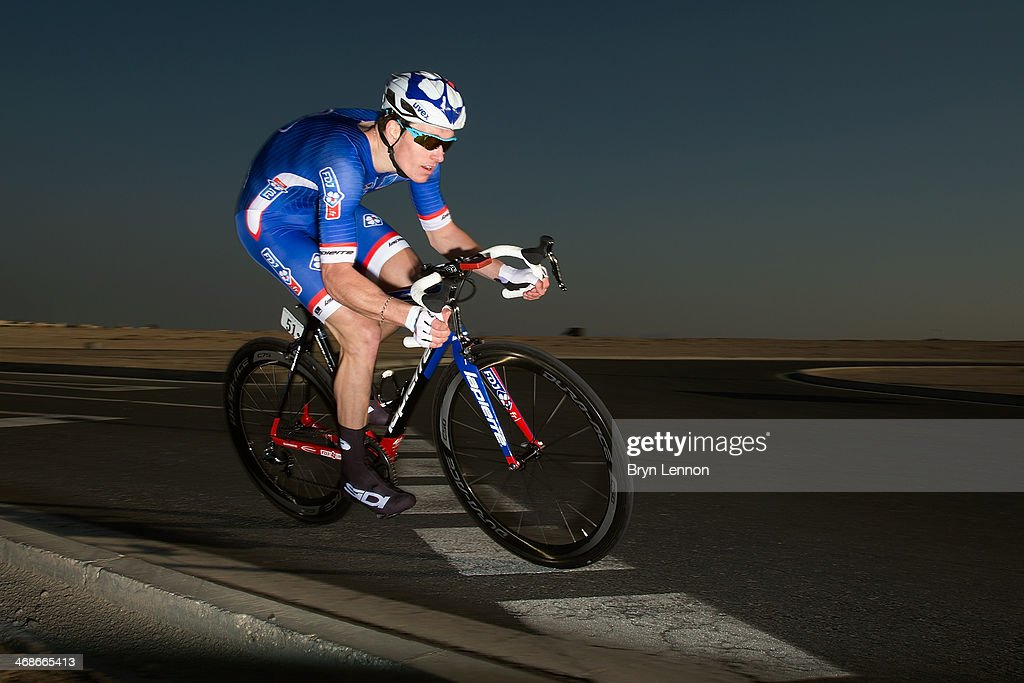 Arnaud Demare of France and the FDJ.FR team in action during stage three of the Tour of Qatar, a 10.9km individual time trial at the Lusail Circuit on February 11, 2014 in Doha, Qatar.