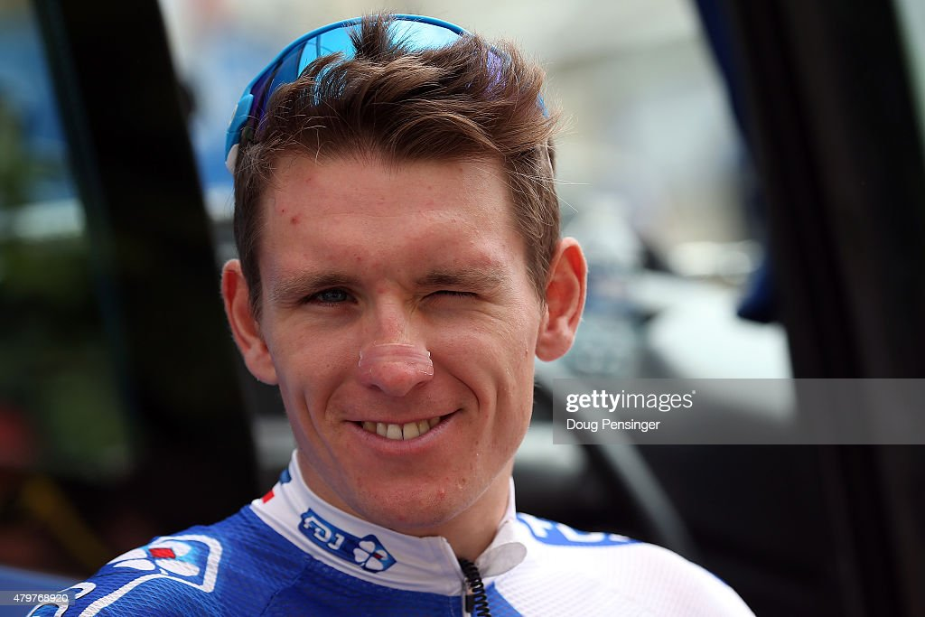 Arnaud Demare of France riding for FDJ talks to the media as he prepares for stage four of the 2015 Tour de France from Seraing, Belgium to Cambrai, France on July 7, 2015 in Seraing, Belgium.