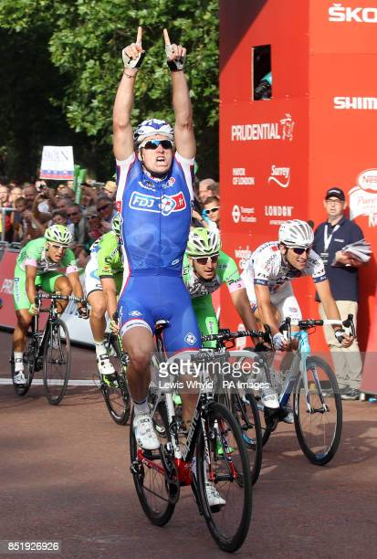 Arnaud Demare wins the Prudential LondonSurrey 100 bike race during day two of the Ridelondon Grand Prix London