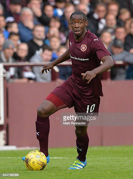 Arnaud Djoum of Heats in action during the UEFA Europa League First Qualifying Round match between Heart of Midlothian FC and FC Infonet Tallinn at...