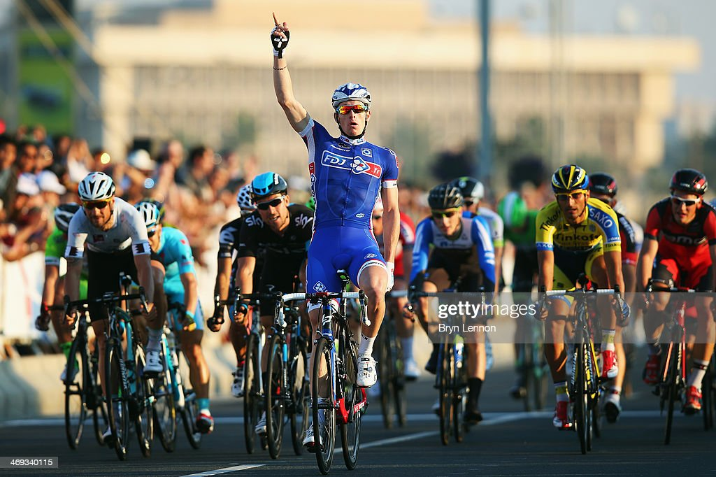 Arnaud Démare of France and FDJ.fr celebrates winning stage six of the Tour of Qatar from Sealine Beach Resort to Doha Corniche on February 14, 2014 in Doha, Qatar.