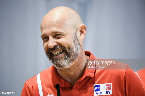 Arnaud Josserand assistant coach of France during a training session of the French volleyball national team on June 28 2017 in Vincennes France