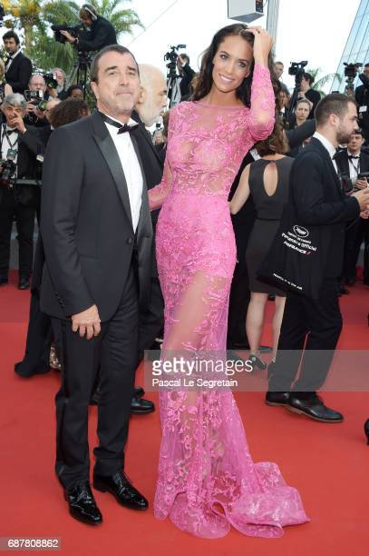 Arnaud Lagardere and Jade Foret attend the 'The Beguiled' screening during the 70th annual Cannes Film Festival at Palais des Festivals on May 24...