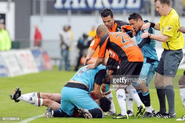 Arnaud LE LAN / Lorik CANA / Olivier THUAL bagarre generale Lorient / Marseille 32 eme journee de Ligue 2 Stade Yves Allainmat Lorient