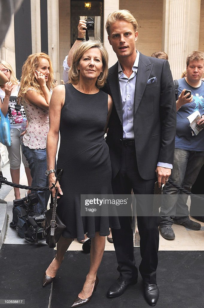 Arnaud Lemaire and Claire Chazal (L) attend Giorgio Armani show as part of the Paris Haute Couture Fashion Week Fall/Winter 2011 at Espace Vendome on July 6, 2010 in Paris, France.