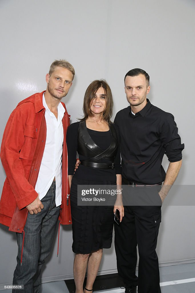 Arnaud Lemaire, <a gi-track='captionPersonalityLinkClicked' href=/galleries/search?phrase=Carine+Roitfeld&family=editorial&specificpeople=240177 ng-click='$event.stopPropagation()'>Carine Roitfeld</a> and Kris Van Assche pose in the backstage before the Dior Homme Menswear Spring/Summer 2017 show as part of Paris Fashion Week on June 25, 2016 in Paris, France.