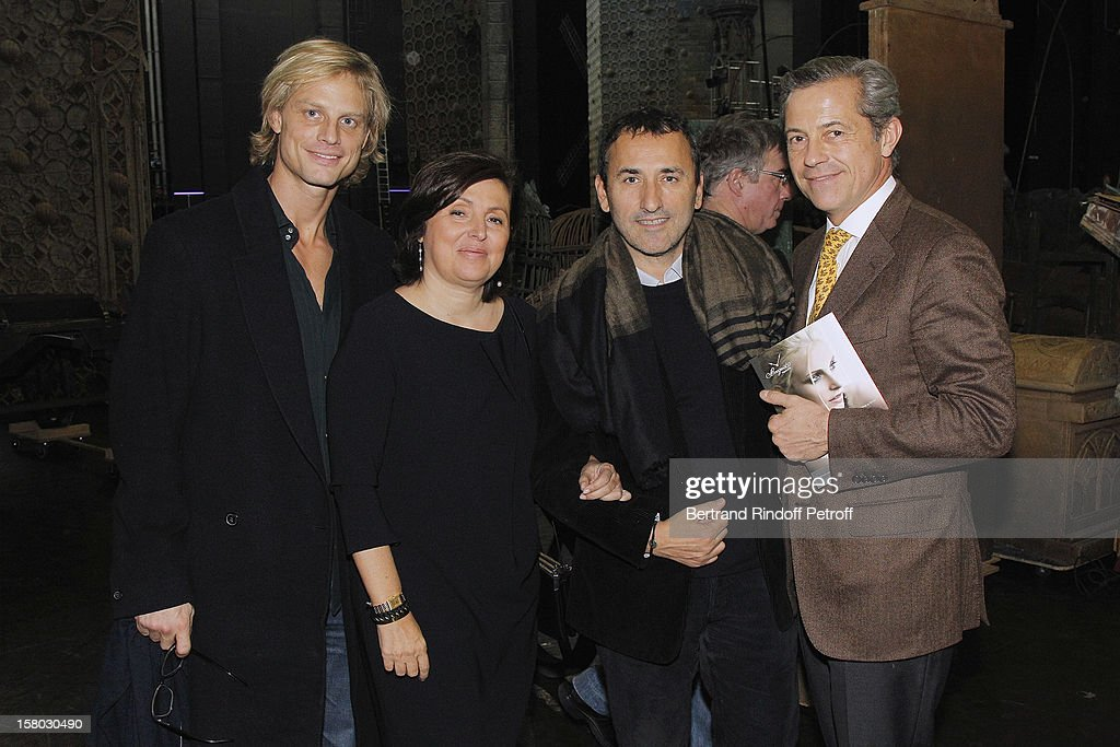 Arnaud Lemaire, Valerie Bernis, President 'Reve d'enfants' association, Pascal Houzelot, Pink TV president and Valerie Bernis' husband pose after the Don Quichotte Ballet Hosted By 'Reve d'Enfants' Association and AROP at Opera Bastille on December 9, 2012 in Paris, France.