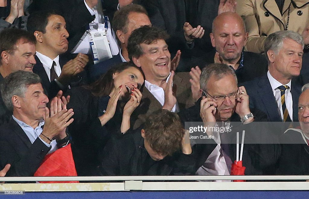 <a gi-track='captionPersonalityLinkClicked' href=/galleries/search?phrase=Arnaud+Montebourg&family=editorial&specificpeople=588268 ng-click='$event.stopPropagation()'>Arnaud Montebourg</a> and his companion <a gi-track='captionPersonalityLinkClicked' href=/galleries/search?phrase=Aurelie+Filippetti&family=editorial&specificpeople=4273748 ng-click='$event.stopPropagation()'>Aurelie Filippetti</a> attend the international friendly match between France and Scotland at Stade Saint Symphorien on June 4, 2016 in Metz, France.